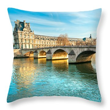 Louvre Museum And Pont Royal - Paris  Throw Pillow by Luciano Mortula