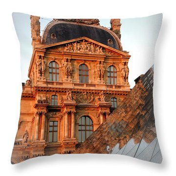 Throw Pillow featuring the photograph Louvre And Pei by Jacqueline M Lewis