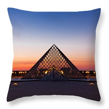 Louvre Pyramid At Dusk / Paris Throw Pillow