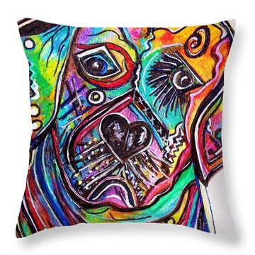 Lovable Lab Throw Pillow by Eloise Schneider