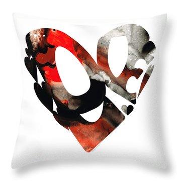 Love 18- Heart Hearts Romantic Art Throw Pillow by Sharon Cummings