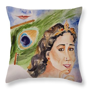 Throw Pillow featuring the painting Love And Devotion by Geeta Biswas