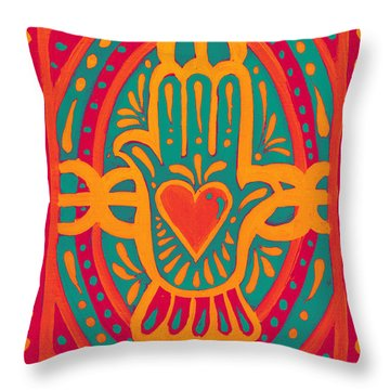 Throw Pillow featuring the painting Love And Wealth To You by Nada Meeks