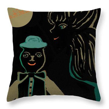 Throw Pillow featuring the painting Love At First Site    Fun Image by Sherri  Of Palm Springs