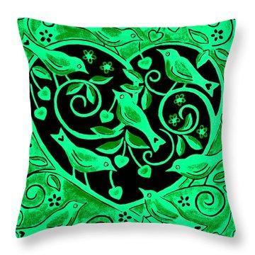 Love Birds, 2012 Woodcut Throw Pillow