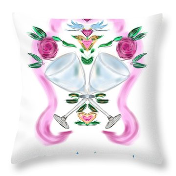 Throw Pillow featuring the digital art Love Birds Anniversary by Christine Fournier
