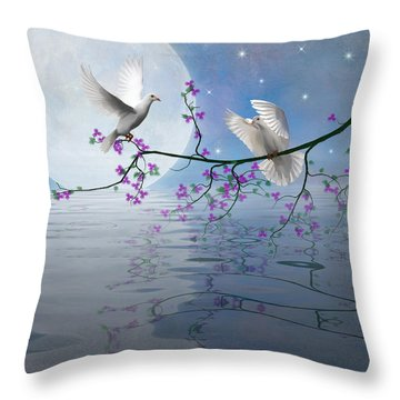 Love Birds By The Light Of The Moon-2 Throw Pillow by Nina Bradica