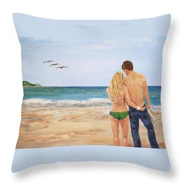 Love Birds Throw Pillow by Nancy Chenet