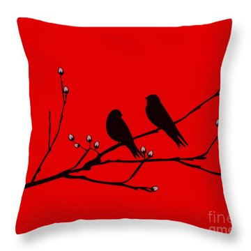 Throw Pillow featuring the drawing Love Birds On Pussywillow by Mindy Bench
