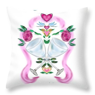 Throw Pillow featuring the digital art Love Birds White Wedding by Christine Fournier