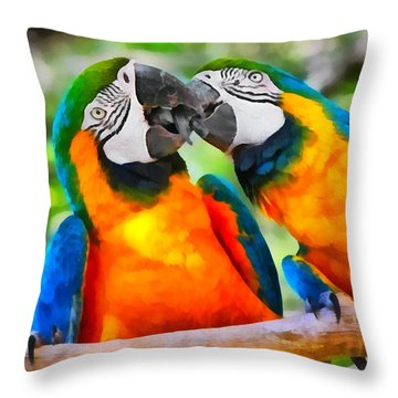 Love Bites - Parrots In Silver Springs Throw Pillow by Christine Till
