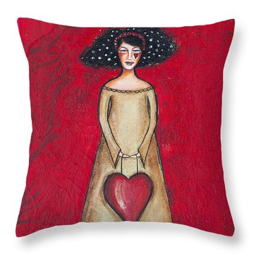 Throw Pillow featuring the mixed media Love Bringer by Stanka Vukelic