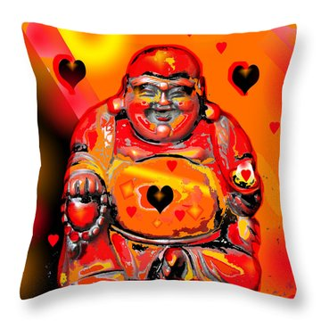 Love Buddha  Throw Pillow by Sladjana Lazarevic