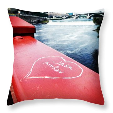 Love By Mississippi River Throw Pillow by Zinvolle Art