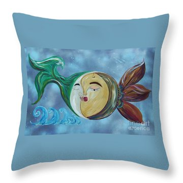 Throw Pillow featuring the painting Love Connect - You Are My Moon And Sun by Eloise Schneider