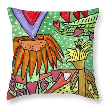 Throw Pillow featuring the painting Love Flower by Artists With Autism Inc