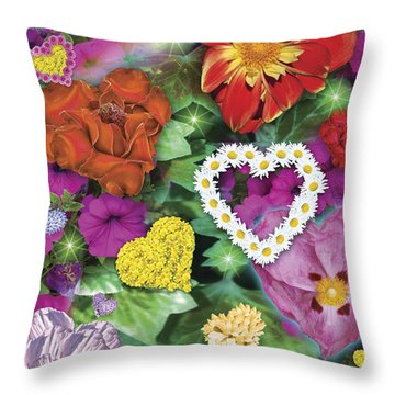 Love Flowers Garden Throw Pillow by Alixandra Mullins
