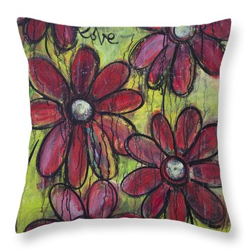 Love For Five Daisies Throw Pillow