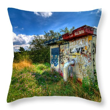 Love Graffiti Covered Building In Field Throw Pillow by Amy Cicconi