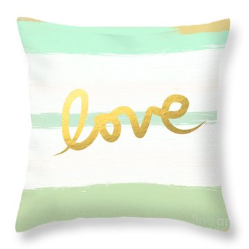 Love In Mint And Gold Throw Pillow