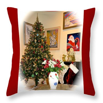 Love In Our Hearts And Santa In The Corner Throw Pillow