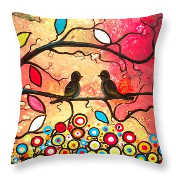 Love In The Air With Flowers Everywhere Throw Pillow