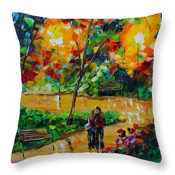 Love In The Park Throw Pillow