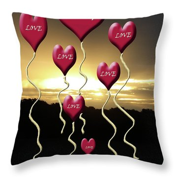 Love Is In The Air Golden Silhouette Throw Pillow by Cathy  Beharriell