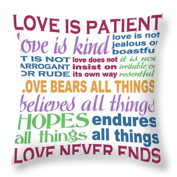 Love Is Patient - Color  Throw Pillow