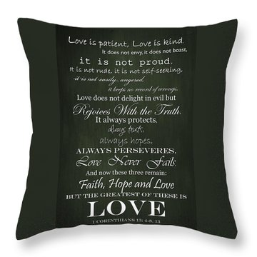 Love Is Patient Green Throw Pillow by Inspired Arts