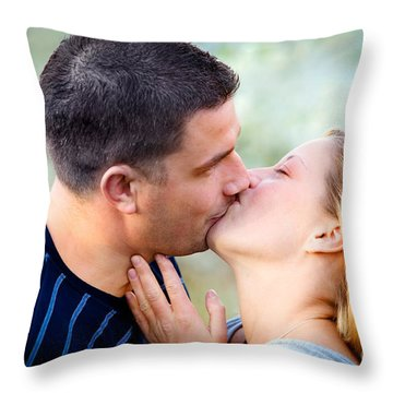 Love Kissing Couple Throw Pillow by Michal Bednarek