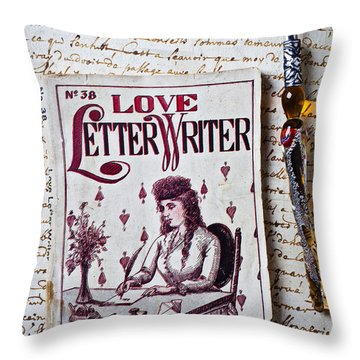 Love Letter Writer Book Throw Pillow by Garry Gay