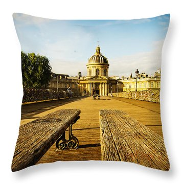 Love Lock Bridge In Paris Throw Pillow by MaryJane Armstrong
