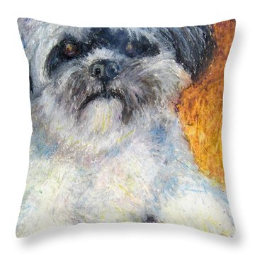 Love My Lhasa Throw Pillow by Laurie Morgan