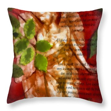 Love Never Fails 3 Throw Pillow by Angelina Vick