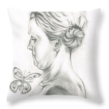 Throw Pillow featuring the drawing Loves- Her Butterflies by Teresa White