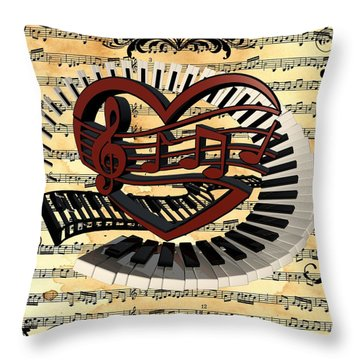 Love Of Music  Throw Pillow by Louis Ferreira
