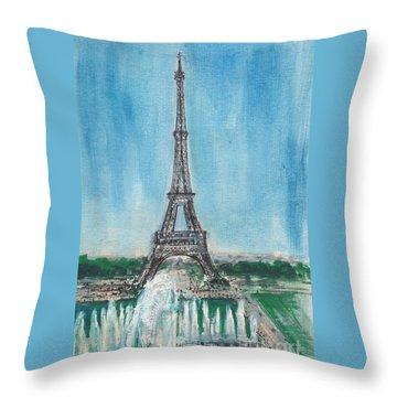 Throw Pillow featuring the painting Love Of The Eiffel by Mary Armstrong