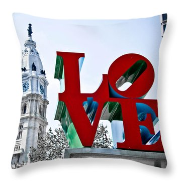 Love Park And City Hall Throw Pillow