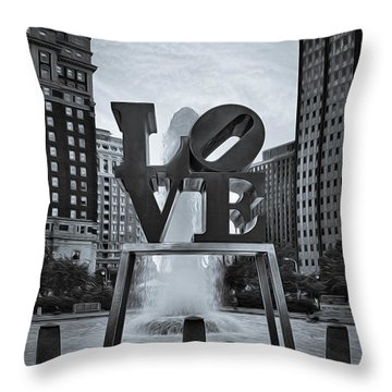 Love Park Bw Throw Pillow