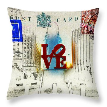 Love Park Post Card Throw Pillow by Bill Cannon