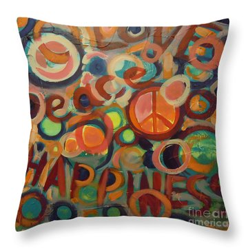Love Peace Happiness Throw Pillow