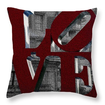 Love Philadelphia Red Mosaic Throw Pillow by Terry DeLuco
