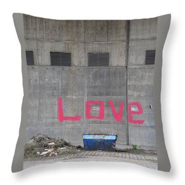 Love - Pink Painting On Grey Wall Throw Pillow by Matthias Hauser