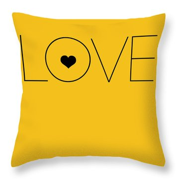 Love Poster Yellow Throw Pillow by Naxart Studio