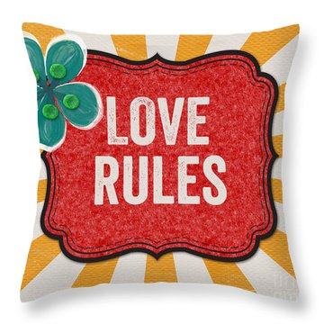 Love Rules Throw Pillow by Linda Woods
