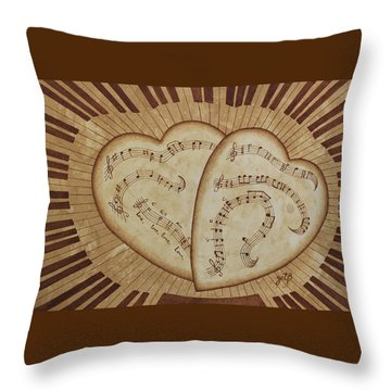 Throw Pillow featuring the painting Love Song Of Our Hearts by Georgeta Blanaru