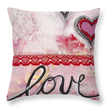 Throw Pillow featuring the mixed media Love  by Stanka Vukelic