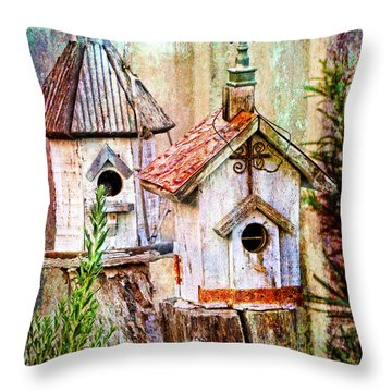 Love Thy Neighbor - Birdhouses Throw Pillow