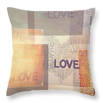 Love. Vintage. Creamy Pastel Throw Pillow by Jenny Rainbow